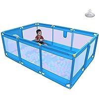 ベビーサークル, 玩具収納袋とゲート - 66センチメートルの高さで、幼児のための屋内/屋外、プラスチック製の安全な再生庭のためのポータブルブルーベイビープレイプ (サイズ さいず : 190 × 128 × 66cm)