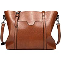 FENICAL Hobo Bag PU Leather Shoulder Tote Crossbody Bag Large Capacity Brown for Women (Brown)