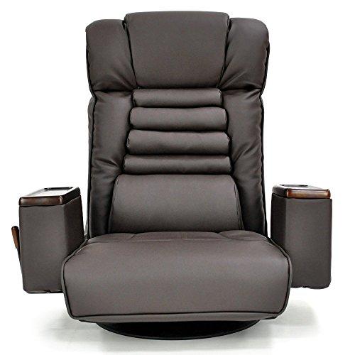 座椅子 レバー式 ガス圧 無段階リクライニング 回転座椅子 「エグゼ」 ( 収納ボックス ヘッドリクライニング機能付 ポケットコイル使用 ) 合皮タイプ ダークブラウン色