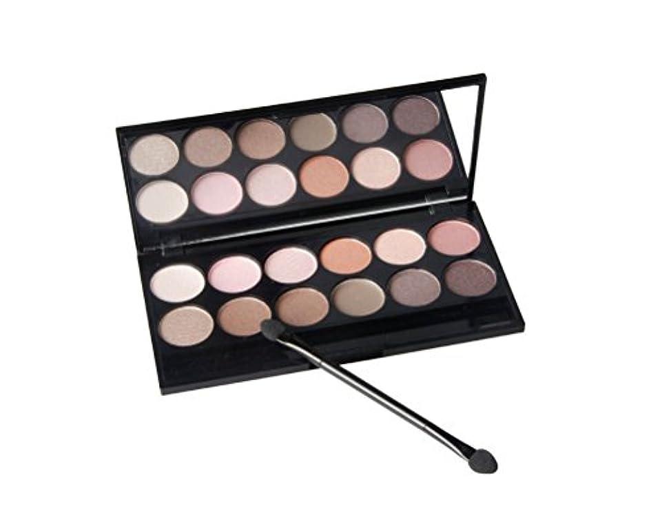 偏心ブース貢献MakeupAcc アイシャドウパレット 12色 マット ピンク ヌード色 ブラウン スモーキー色 アイシャドー棒と化粧鏡付き [並行輸入品]