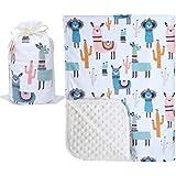 "Bundled Joy Baby Gifts - Premium Soft Plush Lightweight Minky Dot Toddler Baby Newborn Blanket 30""x40"" (Llama Cream)"