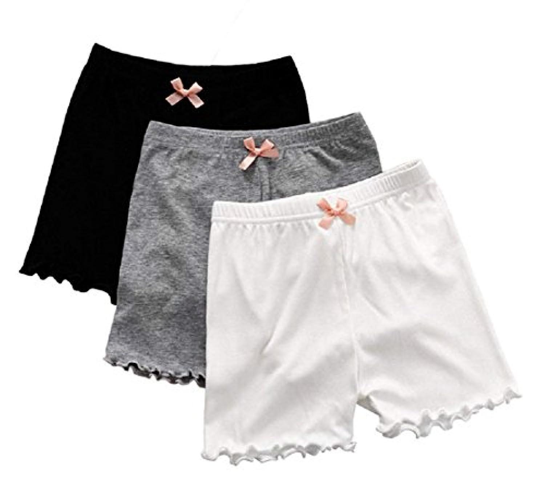 [インソミラ] InSomila キッズ オーバーパンツ 女の子 無地 4枚セット リボン付き インナーパンツ アンダーパンツ ガールズ 下着 3分丈 女児 ショートパンツ 半ズボン 短パン