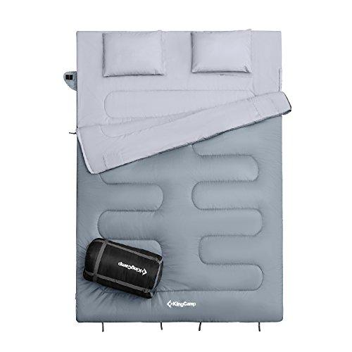 KingCamp 寝袋 2人用 封筒型 枕付き 220×15...