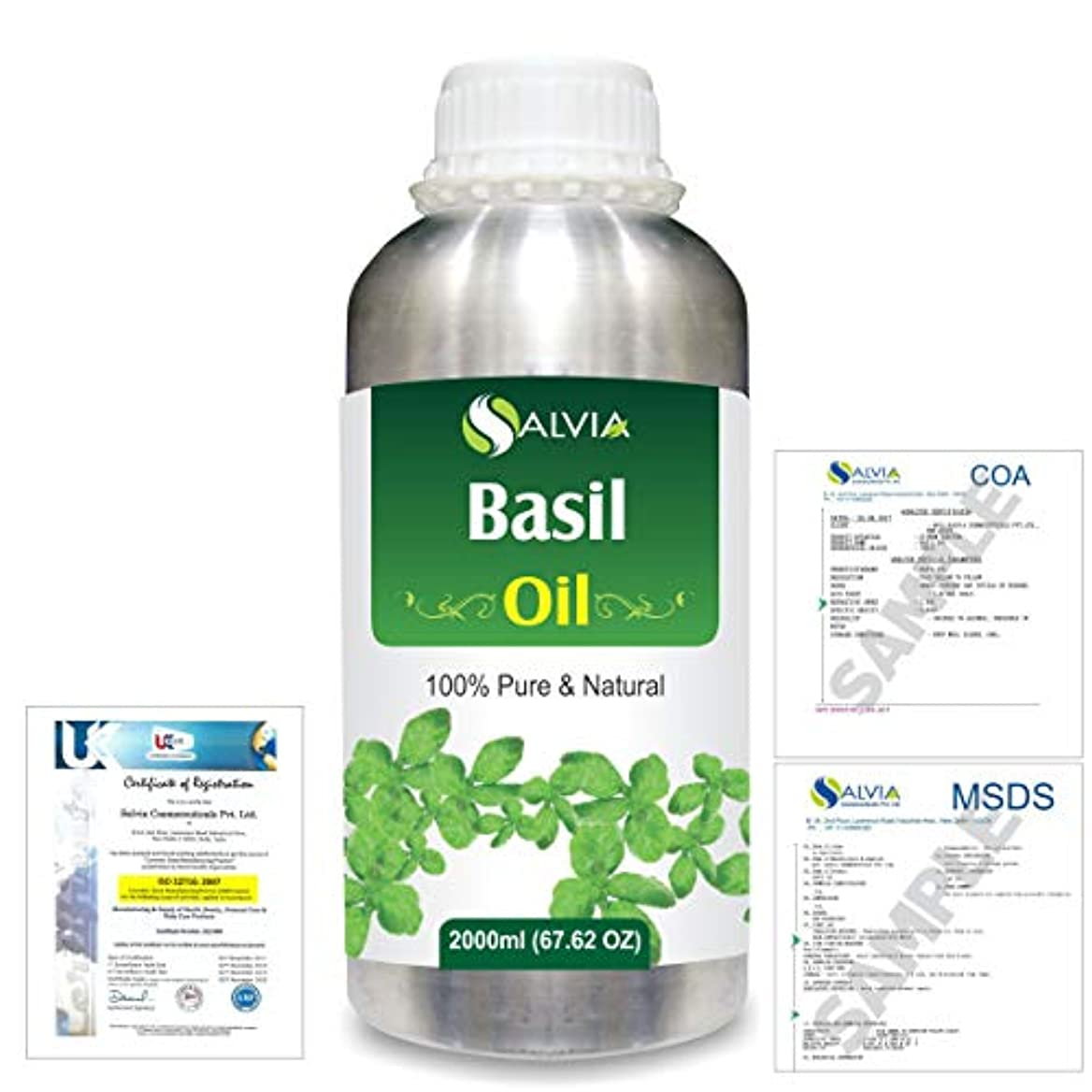 フライカイト黒くするインクBasil (Ocimum basilicium) 100% Natural Pure Essential Oil 2000ml/67 fl.oz.