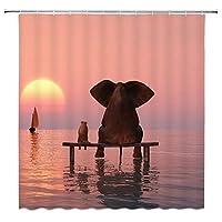 美しい夕焼けの海の景色浴室の窓の装飾のための生地のホックが付いているポリエステル防水シャワー・カーテン60X72in