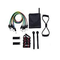 多機能弾性ロープ、プルロープ胸筋トレーニング胸エキスパンダーアーム筋肉抵抗バンド家庭用フィットネス機器セット (色 : C)