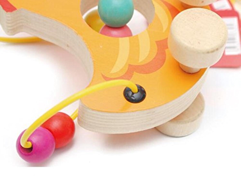 Tuersuer 早期子供用 おもちゃ カートゥーン ビーズ周りにクジラ おもちゃ 木製プルアロング おもちゃ