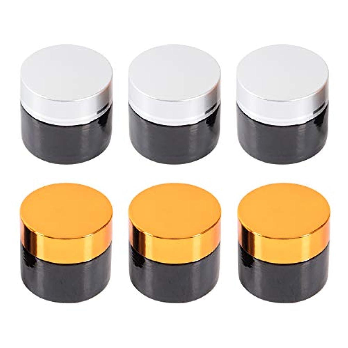 衝突する起きている永久に【Mythrite】 遮光瓶 クリーム容器 ガラス 容器 ハンドクリーム アロマクリーム 保存 詰替え ブラウン シルバー ゴールド 10g 6個セット