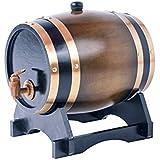 Wine Barrel Whiskey Barrel Wooden Barrel for Storage Or Aging Wine & Spirits Beer Household Home Brewing Wooden Barrel 3 L (Brown)