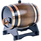 1.5L Whiskey Barrel Dispenser Oak Aging Barrels Home Whiskey Barrel Decanter for Wine, Spirits, Beer, and Liquor (Brown)