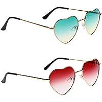 Baosity 2 Pair Retro Metal Heart Shaped Sunglasses Funny Men And Women Glasses Shade