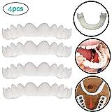 インスタント快適で柔らかい完璧なベニヤの歯スナップキャップを白くする一時的な化粧品歯義歯歯の化粧品シミュレーション上袖/下括弧の4枚,upperteeth4pcs