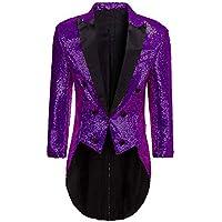 Men's Sequins Tailcoat Tuxedos Prom Party Jacket Perfermance Costume Blazer Dinner Coat