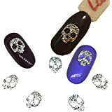 20Pcs Silver Skull Gold Nail Art Decorations Metal 3d Nail Charms Decor Bijoux Bling Rock NailArt Supplies Steam Punk Design : Gold