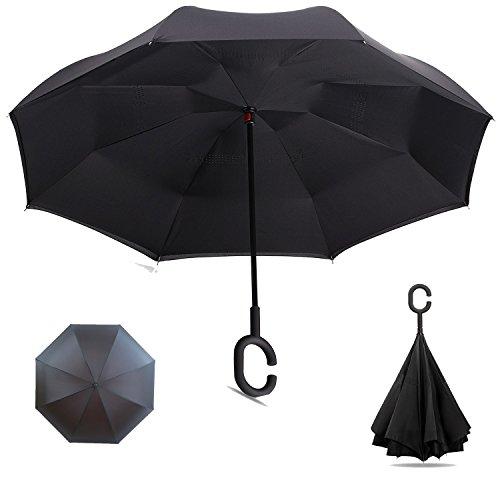 逆さ傘 逆折り式傘 長傘 自立傘 手離れC型手元 撥水 耐風 晴雨兼用 車用 UVカット 逆転傘 遮光遮熱 両手解放可 二重生地構造 124センチ (ブラック)