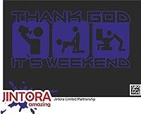 JINTORA ステッカー/カーステッカー - thank God your weekend - あなたの週末に感謝します - 206x99 mm - JDM/Die cut - 車/ウィンドウ/ラップトップ/ウィンドウ - 青