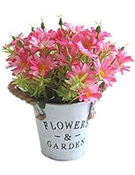 ruisuered装飾植物結婚式人工観葉植物1ピース造花デイジーメタルポット盆栽ステージガーデンウェディングパーティーの装飾 - ローズレッド