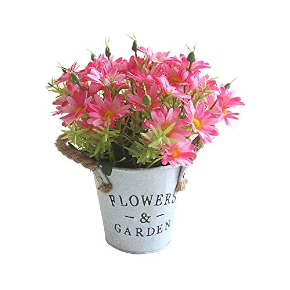 クマノミ最後にピットruisuered装飾植物結婚式人工観葉植物1ピース造花デイジーメタルポット盆栽ステージガーデンウェディングパーティーの装飾 - ローズレッド