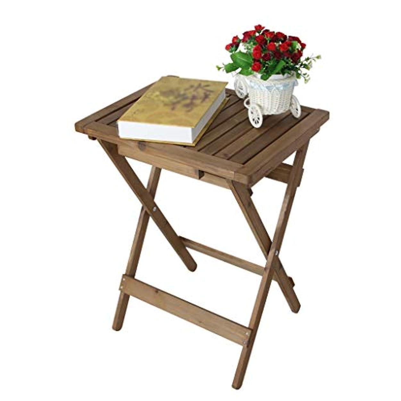 見ました苦味雪だるまPingFanMi 多機能テーブル、純木折りたたみ小型折りたたみ机、ダイニングテーブル、バルコニーテーブルモミ木テーブルシンプルテーブルティーテーブルディナーテーブル素朴なスタイル(47.5 * 36.5 * 61.5cm)