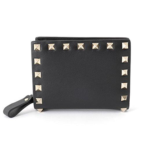 VALENTINO ヴァレンティノ PW2P0620 BOL ロックスタッズ装飾 レザー 二つ折り財布 ミニ財布 豆財布 0NO/ブラック [並行輸入品]