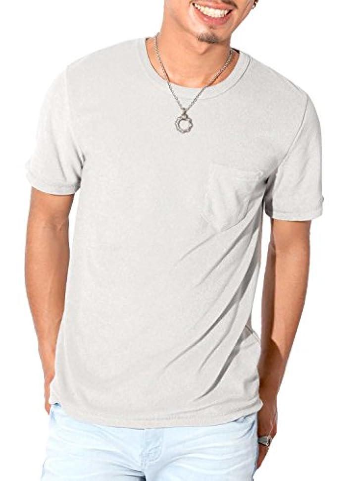 自分自身交通渋滞デザートLUX STYLE(ラグスタイル) Tシャツ メンズ 半袖 ポケット パイル クルーネック 無地 夏