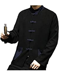 gawaga ポケット付きメンズ中国伝統的なリネンスタンドカラーカエルボタンコート