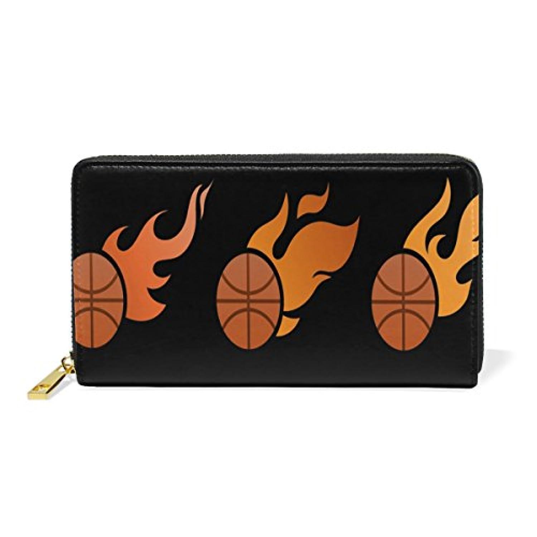 Anmumi 財布 長財布 二つ折り レディーズ puレザー 人気 メンズ 子供 通勤 通学 おしゃれ 持ちやすい カード入れ バスケットボール