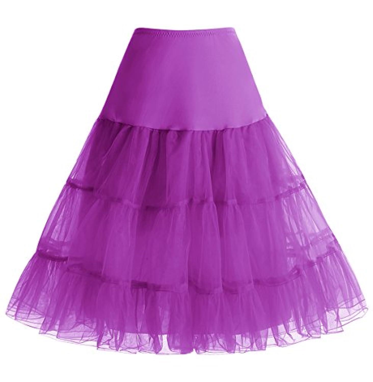 Homrain ふわふわパニエ カラースカート ひざ丈 ボリューム フリルいっぱい 裏地付き カラーパニエ