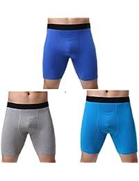 (ジンシ) JINSH 前開き ロングボクサーパンツ メンズ ハーフ ボクサーパンツ 男性 トランクス 立体 通気人気 M 3枚
