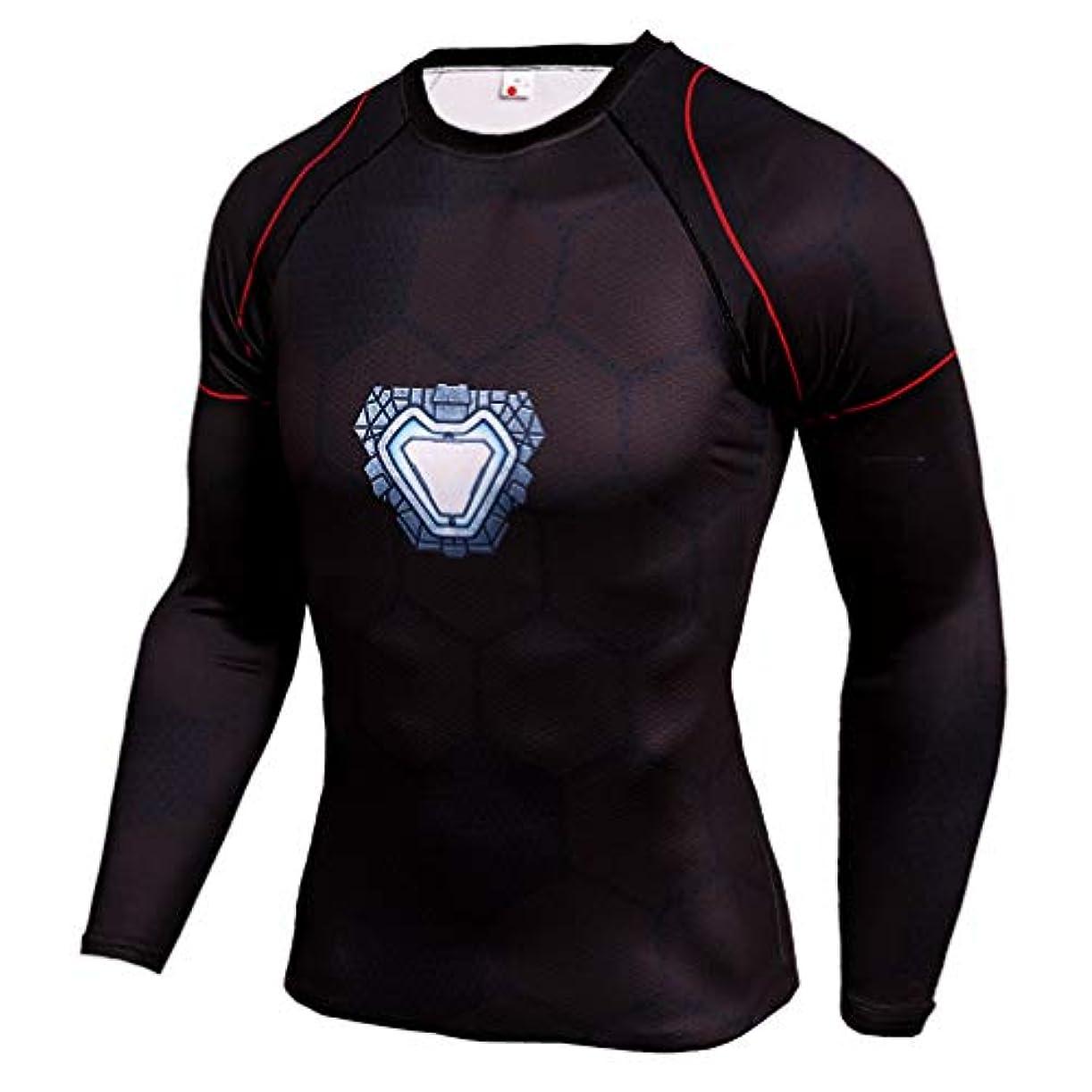 メジャーバラバラにする喜んでメンズ Tシャツ 長袖 Ironman アイアンマン運動 吸汗速乾 オールシーズン コンプレッションウェア パワーストレッチ アンダーウェア