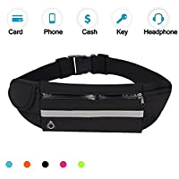 (black) - Running Belt Waist Pack, Water Resistant Waist Bag, Sports Fanny Pack with Adjustable Belt for Phone Men Women iPhone Running Hiking Cycling Travel Workout.