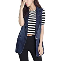 Lentta Women's Lapel Button Up Sleeveless Denim Jean Mid Long Vest Gilet Jacket