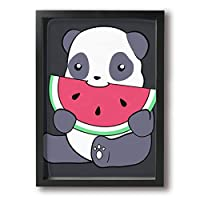 絵画家族 Panda And A Watermelon 超薄型 絵画インテリアアート 額入り(22cm*33cm) アートフレーム インテリア アートポスター 油絵 水彩画 現代絵画 壁飾り 壁掛け 風景 自然 動植物 玄関 木製 贈り物