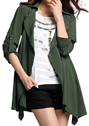 [해외]La03 가렛 드 후아 (galette des Rois) 롤업 심플 세련된 트렌치 스프링 긴팔 무지 캐주얼 하프 무릎 길이 그린 블랙 그린 블랙 여성의 겉옷 짧은 얇은 춘추 La03/La03 Galette des Rois Roll-up simple trendy trench Spring coat Long sleeve plai...