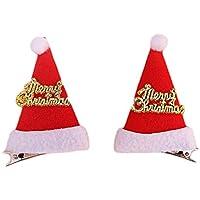 クリスマス風 ヘアピン トナカイ 角 髪飾り キラキラ馴鹿 サンタ帽ヘアピン クリスマス用品 可愛い ヘアクリップ 2個セット 大人 子供 男女兼用 (サンタ帽)
