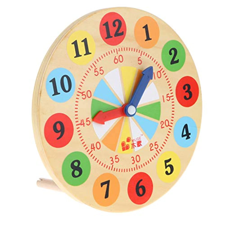 SM SunniMix 子供 幼児 学校教育援助用 スタディクロック 時間を識別する 木製時計 学習おもちゃ