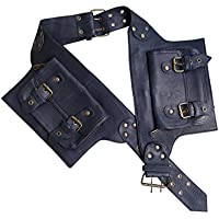 Leather Utility Belt | Adjustable, 4 Pocket | Saddle | waist, hip bag, travel, festival, cosplay, fanny pack