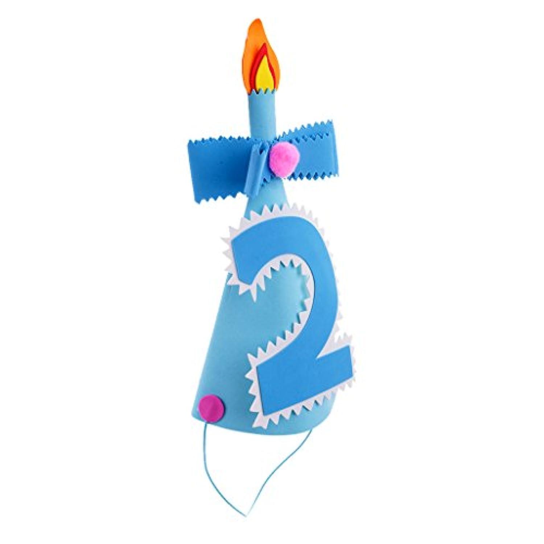 Lovoski 帽子 誕生日 パーティーコーンハット 全2色3種類 - 数字2, ブルー