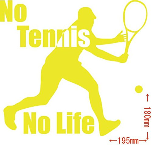 ノーブランド品 No Tennis No Life (テニス)ステッカー・ 7 約180mm×約195mm イエロー