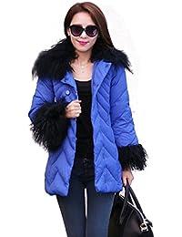 Shop358 コート ダウン ダウンコート ダウンジャケット レディース ジャケット 秋 冬 ファー ボア ガールズ ブルゾン カジュアル エレガンス ゴージャス 全5色 (M, ブルー)