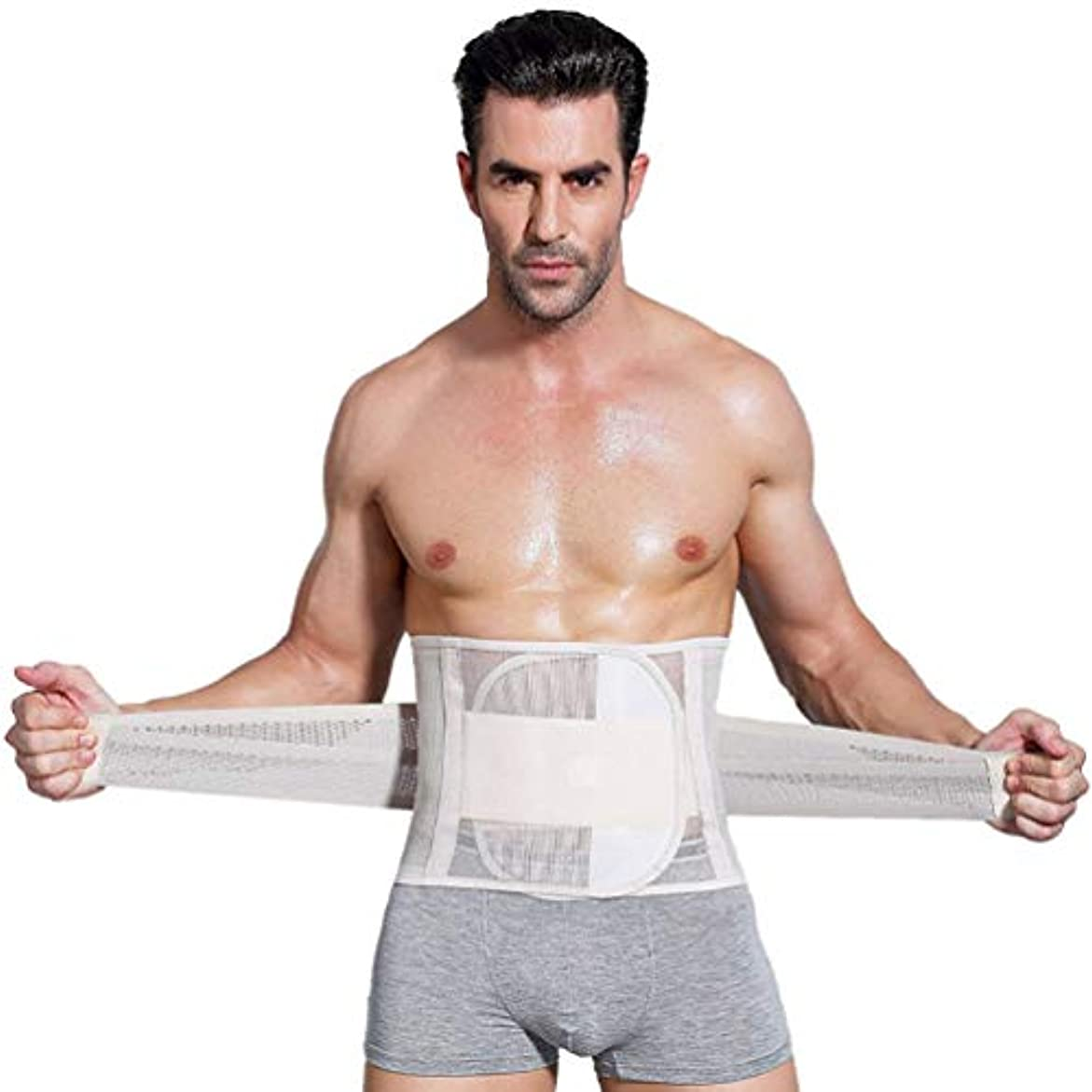 照らす連続的配分男性ボディシェイパーコルセット腹部おなかコントロールウエストトレーナーニッパー脂肪燃焼ガードル痩身腹ベルト用男性 - 肌色XL