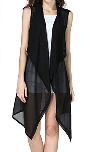 ELPIS レディース ノースリーブ 薄手 ジレ ロング ベスト 羽織 シフォン S M L XL 3色 ( ブラック,L )
