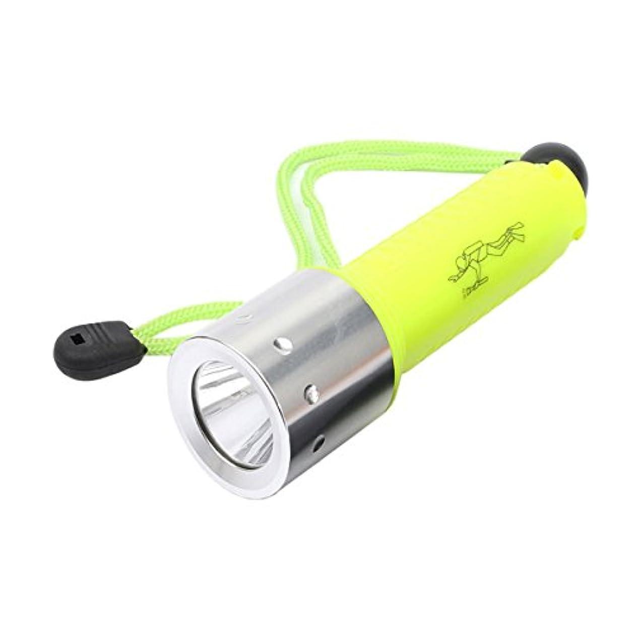 ロケーション起こる甘くするSODIAL フラッシュライト懐中電灯 ランプライト アンダーウォーター水中 x M-L T6 LED 4000LM ウォータープルーフ防水ダイビングトーチ、蛍光グリーンカラー