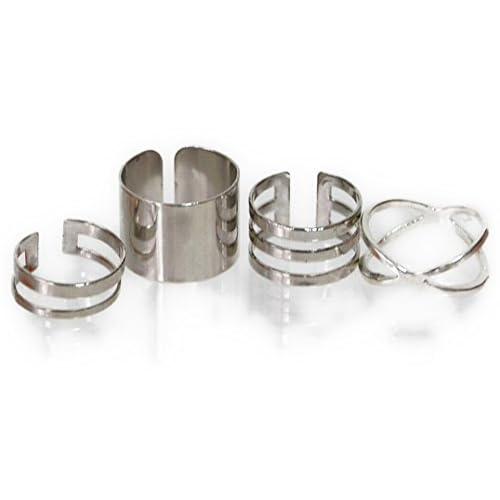 ヴィヴィラウンジ 指輪 リング 4個 セット ミディリング ファランジリング シンプル 幅広 極細 レディース シルバー (シルバー (銀))