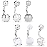 Briana Williams Short Belly Button Rings 6mm Surgical Steel Navel Belly Rings Body Piercing Jewelry for Women Girls with Clear Diamond CZ 14G 6PCS