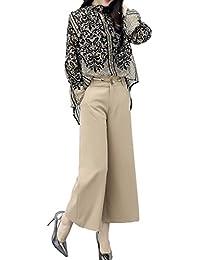 [もうほうきょう] レディース 上下セット カジュアル パンツスーツ 二点セット 花柄 長袖 ゆったり 春秋夏 女性 OL  オフィス ビジネス 通勤 ワイドパンツシフォンブラウス