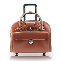 "McKlein, L Series, EDGEBROOK, Top Grain Cowhide Leather, 15"" Leather Wheeled Ladies' Laptop Briefcase, Brown (96314)"