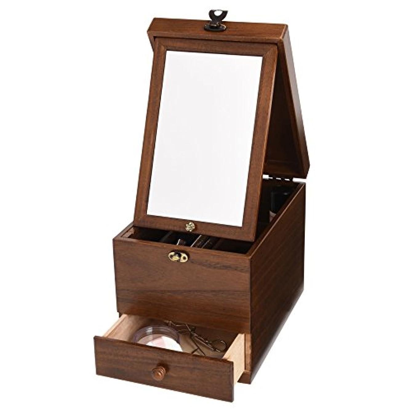 知る移動ストリップ木製コスメボックス 引き出し 鏡付き 収納 メイクボックス 化粧ボックス 日本製