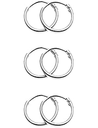 Tiny Sterling Silver Small Endless 10mm Round Unisex Hoop Earrings, 3 Pairs Set