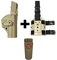 IMI Defense z1430レベル3360°回転ホルスターH & K HK Heckler & Koch USPコンパクト、タン+ z2200ドロップ脚アタッチメントリグ+ Ultimate Arms Gear Magazine Magツールベルトクリップポーチホルダー